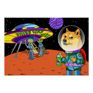Shibe Doge Astro and the Aliens Memes Cats Cartoon Poster