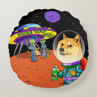 Shibe Doge Astro and the Aliens Memes Cats Cartoon Round Pillow