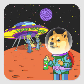 Shibe Doge Astro and the Aliens Memes Cats Cartoon Square Sticker
