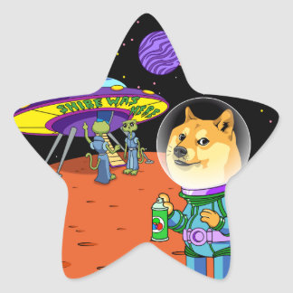 Shibe Doge Astro and the Aliens Memes Cats Cartoon Star Sticker