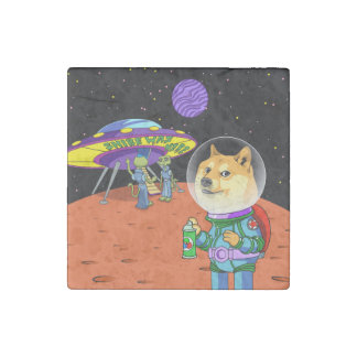 Shibe Doge Astro and the Aliens Memes Cats Cartoon Stone Magnet