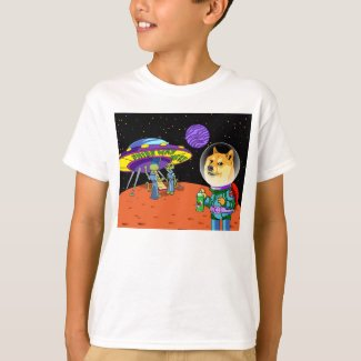 Shibe Doge Astro Aliens Memes Cats Cartoon T-Shirt