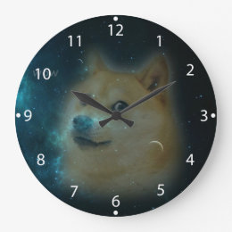 shibe doge in space large clock
