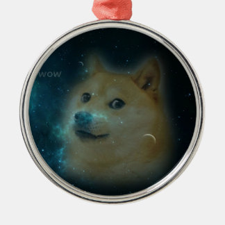 shibe doge in space metal ornament