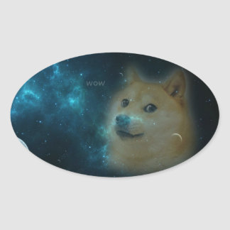 shibe doge in space oval sticker