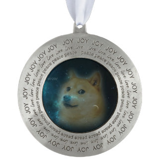 shibe doge in space pewter ornament