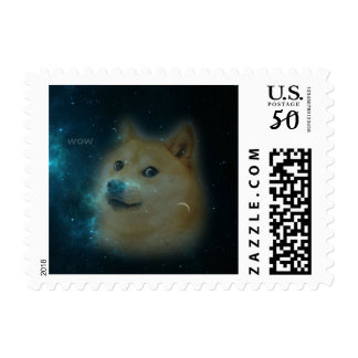 shibe doge in space postage