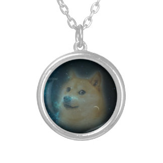 shibe doge in space round pendant necklace