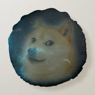 shibe doge in space round pillow