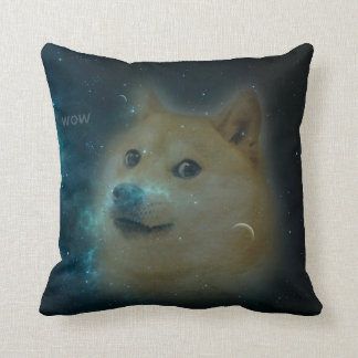 shibe doge in space throw pillow