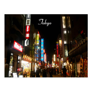 shibuya night lights postcard
