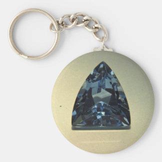Shield cut blue topaz basic round button keychain