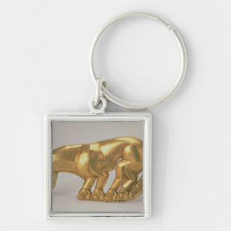 Shield emblem in the form of a panther Silver-Colored square keychain