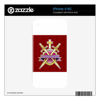 Shield Golden Cross and Golden Swords with ribbon Skins For iPhone 4S