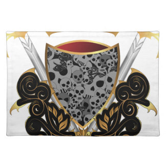 Shield in gold and black with skulls cloth placemat