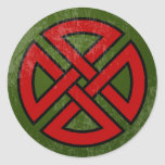Shield Knot (Celtic, red & black on green) Stickers