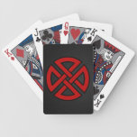 Shield Knot (Celtic, red & black on metal) Bicycle Playing Cards
