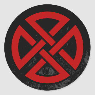 Shield Knot (Celtic version in red & black) Classic Round Sticker