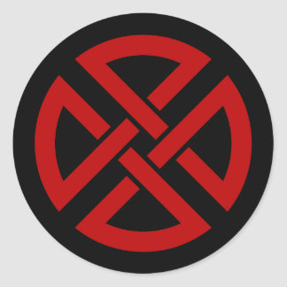 Shield Knot (Celtic version in red & black) Round Stickers