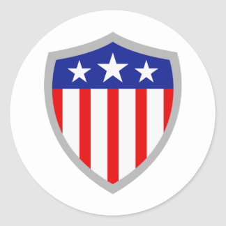 Shield of American Flag Classic Round Sticker