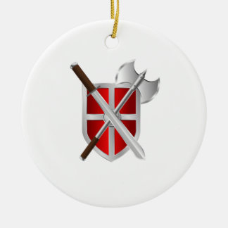 Shield. Sword And Axe Ceramic Ornament