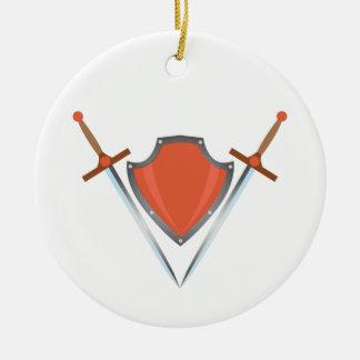 Shield Swords Ceramic Ornament