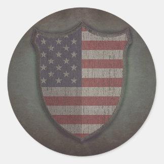 Shield Usa flag. Etiquetas Redondas