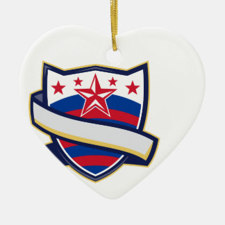 Shield With Stars and Stripes Ribbon Ceramic Ornament