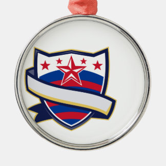 Shield With Stars and Stripes Ribbon Metal Ornament