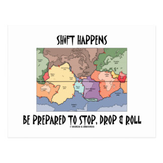 Shift Happens Be Prepared To Stop, Drop & Roll Post Card