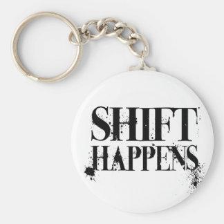 Shift Happens Grunge Basic Round Button Keychain