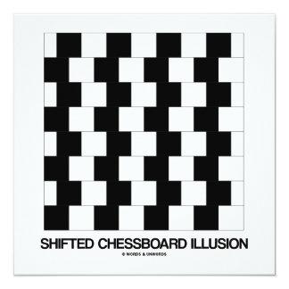 Shifted Chessboard Illusion (Optical Illusion) 5.25x5.25 Square Paper Invitation Card