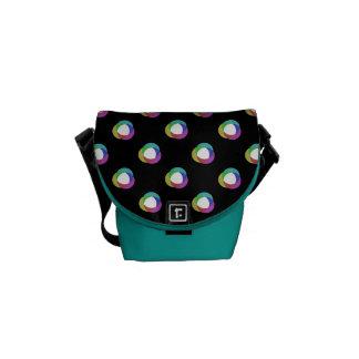 Shifted Pastel Polka Dots Pattern Custom BG Black Messenger Bag