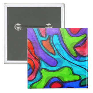 Shifted Squiggles - Modern Abstract Art 2 Inch Square Button