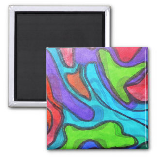 Shifted Squiggles - Modern Abstract Art Magnets