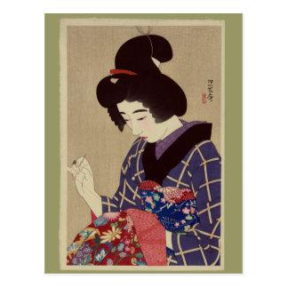 """""""Shigoto de Hari"""" (cosiendo) por Itō Shinsui Postal"""