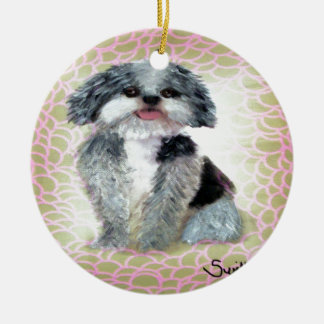 Shih-Poo Double-Sided Ceramic Round Christmas Ornament