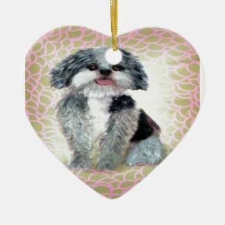 Shih-Poo Double-Sided Heart Ceramic Christmas Ornament