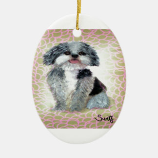 Shih-Poo Double-Sided Oval Ceramic Christmas Ornament