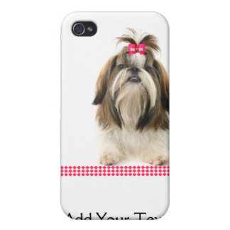 Shih Tsu with Pink Bow on Pink Diamond border Cover For iPhone 4