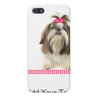 Shih Tsu with Pink Bow on Pink Diamond border iPhone SE/5/5s Case