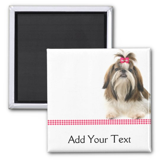 Shih Tsu with Pink Bow on Pink Diamond border Magnet