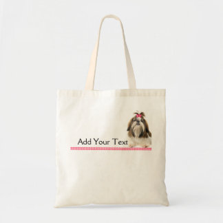 Shih Tsu with Pink Bow on Pink Diamond border Tote Bag