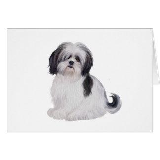 Shih tzu (A) - black and white Greeting Card