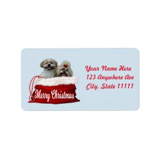 Shih tzu Address Label, Christmas Label