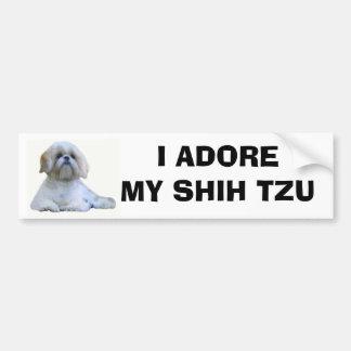 Shih Tzu adoro a la pegatina para el parachoques Pegatina De Parachoque