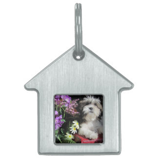 Shih Tzu and flowers Pet ID Tag