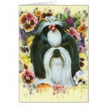 Shih Tzu and Pansies Art Print Greeting Card