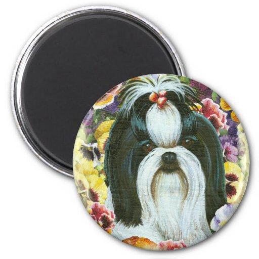 Shih Tzu and Pansies Art Print Magnet