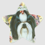 Shih Tzu and Pansies Art Print Stickers Tags